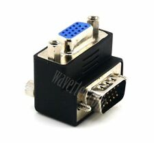 Upward Right Angled VGA Adapter D-Sub 15 Pin Male to Female Connector Screw CRY