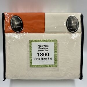 Aloe Vera Bamboo 6-Piece Twin Sheet Set in Tan/Orange Deep Pocket 2 Pillow Cases