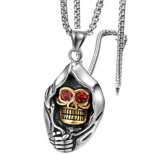 Mens Stainless Steel Gothic Grim Reaper Death Skull Red Crystal Pendant Necklace