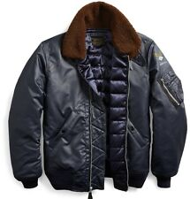 RRL Ralph Lauren 1940s B-15 Inspired Lamb Shearling Collar Down Bomber Jacket- M
