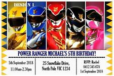 1 x POWER RANGERS BOYS CHILDRENS BIRTHDAY PERSONALISED INVITATIONS + MAGNETS