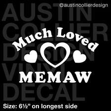 "6.5"" MUCH LOVED MEMAW vinyl decal car window laptop sticker - mom grandma gift"