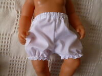"""BJB dolls clothes, White knickers pants fit 18"""" baby born annabel doll"""