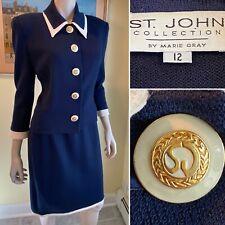 ST JOHN Size 12/Large Navy Blue Santana Stretch Knit 2-Piece Blazer SKIRT SUIT