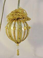 Handmade Christmas Tree Ornament Beautiful Ornate Gold Trims and Beads Ooak
