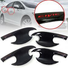 4 Door Handle Bowl Insert Cover Black Carbon Red Logo Fit Honda Civic FB 2012-15