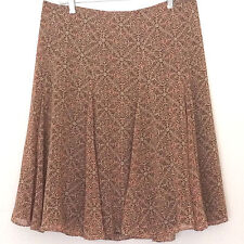 East 5th Sz 12 Brown Print Skirt Full A-Line Lined