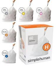 Simplehuman White Plastic Bin Liners Pack of 60 Code A B D E F G H J K M N P R V
