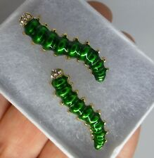 Caterpillar insect brooch green enamel rhinestone vintage style in gift box