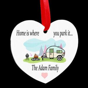 Beautiful Personalised Heart Shaped Metal Hanging Plaque Home Caravan camper