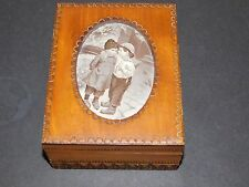 J & J CASH LTD SILK PICTURE SET INTO CARVED WOODEN BOX BY TATRA MOUNTAINS CRAFTS