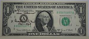 1969 $1 Dollar Bill Signed by Eva Adams Director of the US Mint Crisp Condition