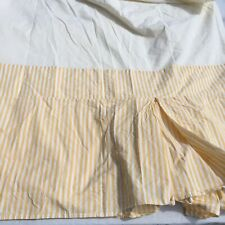 Yellow White Striped Bedskirt Queen Sized Pottery Barn 100% Cotton