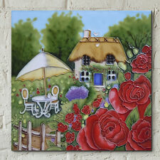 Rose Cottage by Judith Yates 8x8 Decorative Ceramic Picture Art Tile Gift 05303