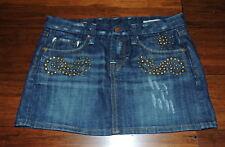Vigoss Studio 27 Stretch Jean Mini Micro Mini Skirt Straight Dark Blue Studded