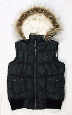 Vanity women's outerwear vest faux fur hood black size M insulated polyester