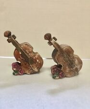 COLLECTORS CELLO SALT AND PEPPER SHAKERS CERAMIC BASS VINTAGE BACH LOGO
