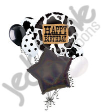 7 pc Western Cow Print Themed Balloon Bouquet Happy Birthday Cowboy Holstein