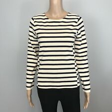 Women's J Crew Blk Off White Stripe Long Sleeve Tee Shirt SZ XS