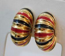 Nautilus Shrimp Post Earrings 14K Yellow Gold Red Black Enamel 9.5g  5d 22