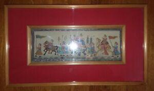 Vintage Camel Bone Persian Miniature KING ON ELEPHANT servants painting INDIA