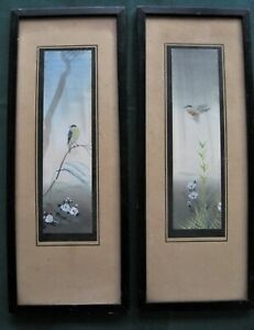 Pair Antique Japanese Bird Paintings on Paper Framed Signed Watercolours