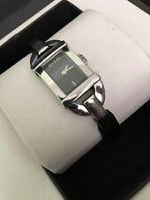 Auth Gucci 6800L Black Leather Quartz Women's Watch