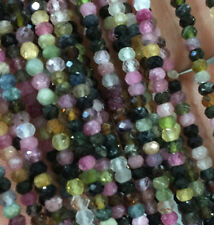 """2x3mm Natural tourmaline faceted rondelle gemstone beads GEM quality 15"""" line AA"""