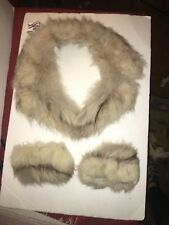 Large Grey Vintage Fox  Fur Collar And Cuffs Add To Coat