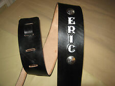 CUSTOM MADE LEATHER GUITAR STRAP (WITH YOUR NAME) BLACK/WHITE LETTERS & CONCHOS