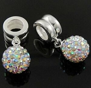 DISCO BALL 8mm-Solid 925 sterling silver& Austrian crystal-Charm bead/Pendant