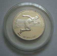 Cook Islands 10 dollars 1990 pp plata Olympia barcelona 1992 alfil