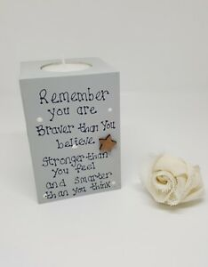 Candle holder, braver than you believe saying, tea light, wooden gift,