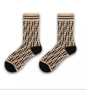 FF Designer Inspired Logo Socks Cream