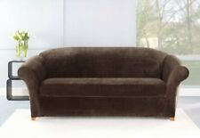 NEW Stretch fake mink Plush Two Piece Sofa Chocolate brown slip cover