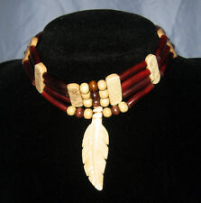 Handmade Native American Red Horn Hairpipe Bone Feather Choker Necklace NWOT