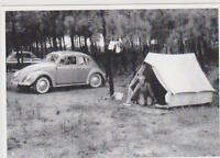 carte postale - VW - VOLKSWAGEN - COX - CAMPING - TENTE - COCCINELLE