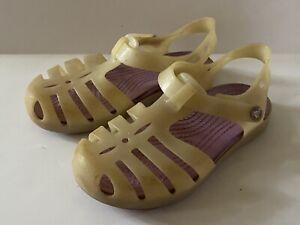 Crocs Girls Mary Jane T Strap Shoes White Glitter Slip-On Flat Size 12 Toddler