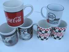 Lot of 6 Coca Cola Coke Mugs Polar Bear Coffee Cups Early Morning Cafe Vintage