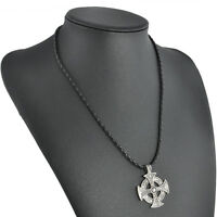 "Retro Vintage Silver Celtic Solar Cross Pewter Pendant with 20"" Choker Necklace"
