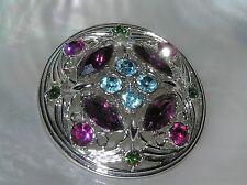 Vintage Sarah Cov Signed Purple Blue Pink Rhinestone Floral Silvertone Domed