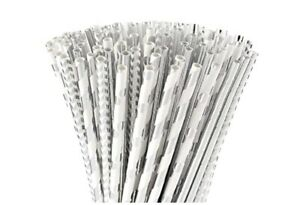ALINK Silver Paper Straw 4 Designs Pack Of 100 Silver/white Stripes Dots