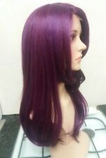 Purple Human Hair Wig Lace Front Side Fringe Bangs