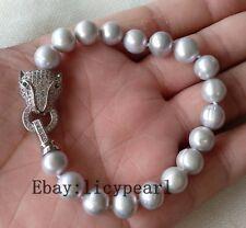 perle Armband, 9-10 mm grau Süßwasser Perle Armband