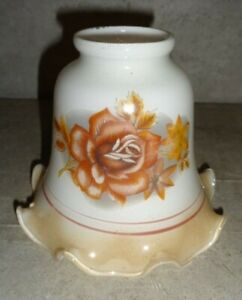 VINTAGE WHITE WITH BEIGE SCALLOPED EDGE AND ROSES REPLACEMENT CEILING FAN LIGHT