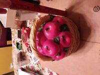 Vintage Ceramic, Porcelain, Cookie Jar, Basket with Red Apple Top, Handle