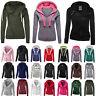 Womens Zip Hooded Slim Sweatshirt Plain Pockets Sport Jacket Casual Coat Outwear
