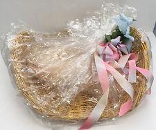 vintage large flat wicker basket gift basket easter basket