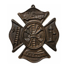 Cast Iron Fireman Emblem Shield Logo Wall Plaque Decor Red Line Heroes