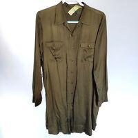 Lauren Ralph Lauren shirt dress Button Down olive Satin Viscose no belt Women 18